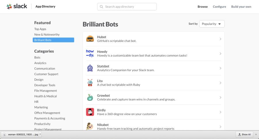 Slack brilliant bots - app directory